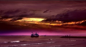 Purple sunset scene of a boat on the sea.